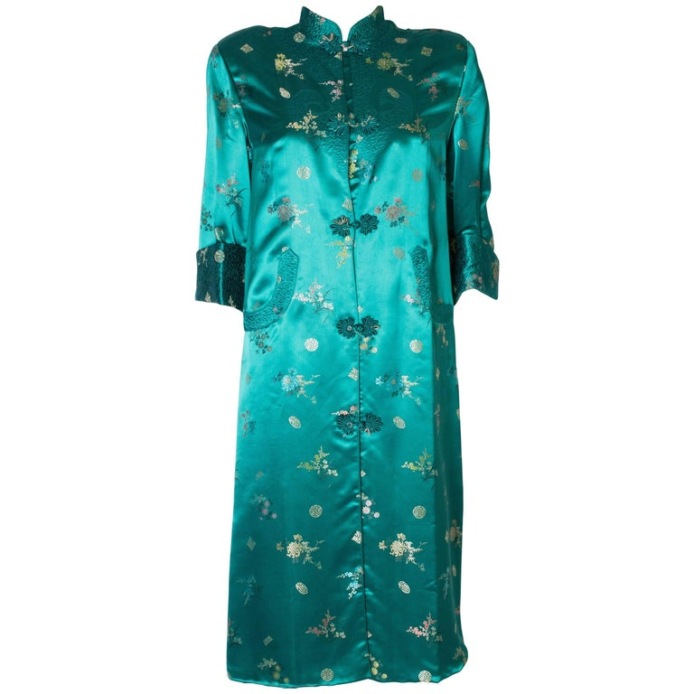 A Vintage 1970s turquoise Chinese Coat with Standup Collar & Decorative Pockets For Sale
