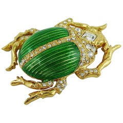 Christian Dior Boutique Vintage Jewelled Scarab Brooch