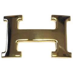 HERMES H Buckle Belt in Gilded Metal 32 mm