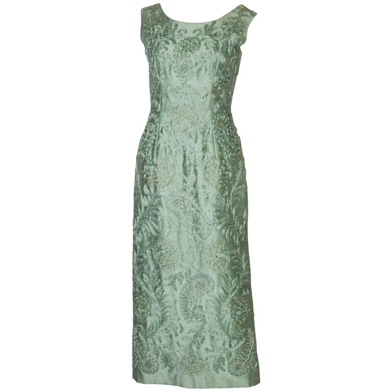 A Vintage 1960s Sage Green evening Gown with Ribbon Detail For Sale