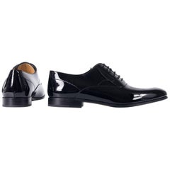 Valentino Mens Black Almond Toe Patent Leather Lace Up Oxfords