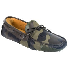 Valentino Mens Green Camouflage Print Canvas Leather Drivers