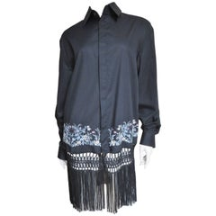 1990s Alexander McQueen Fringe Shirt Dress