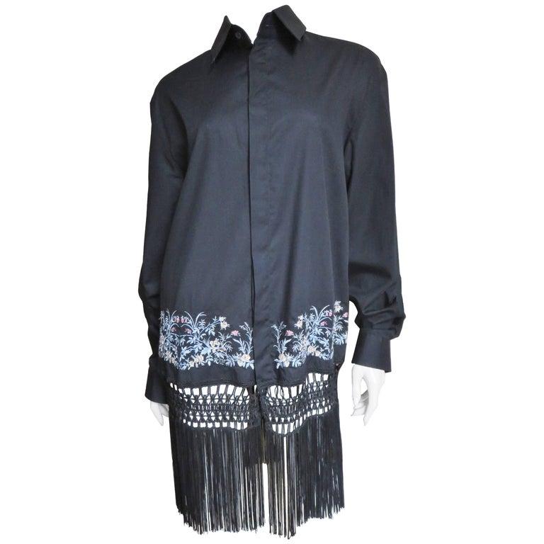 1990s Alexander McQueen Fringe Shirt Dress