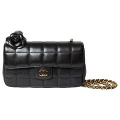 Chanel Black Lambskin Camellia Single Flap Mini with Gold HW