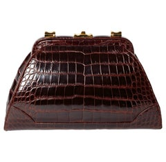 Judith Leiber Dark Brown Alligator Clutch with Detachable Shoulder Strap