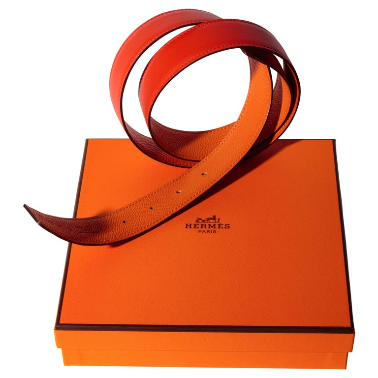 Hermes Replacement Belt in Orange Leather - 90 Cm
