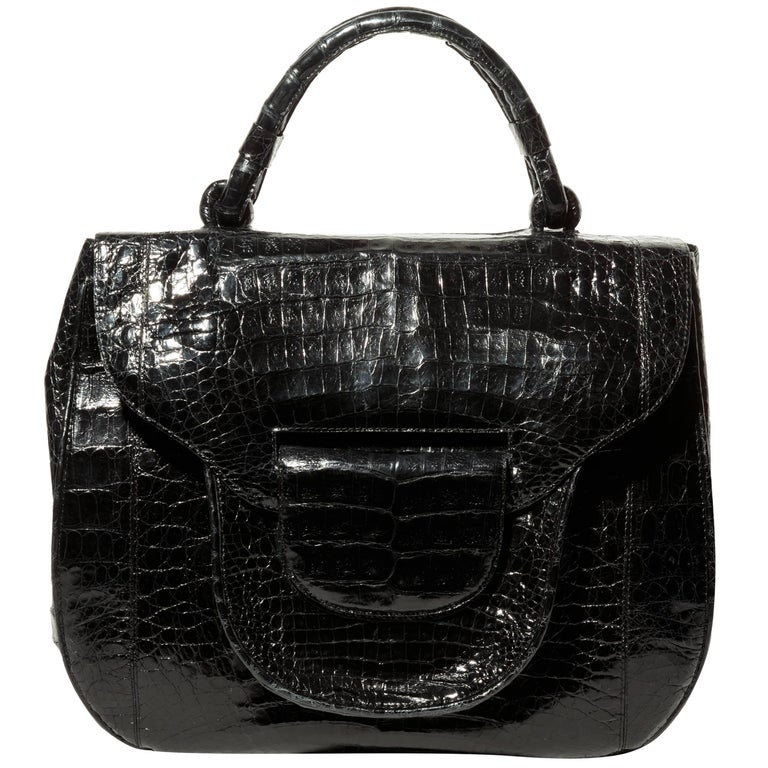 Nancy Gonzalez Black Crocodile Top Handle Bag