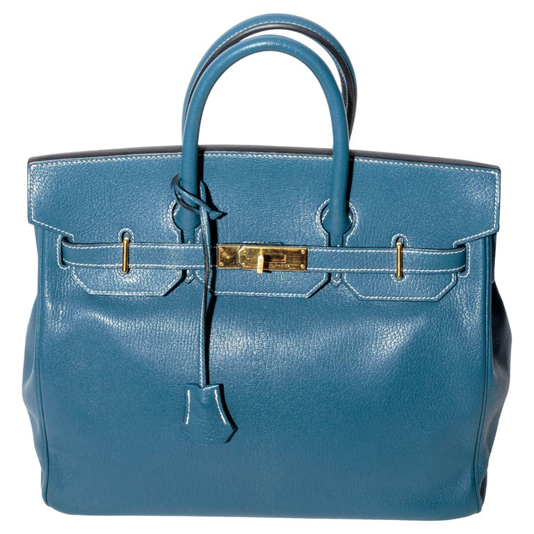 Hermes Horseshoe HAC Birkin in Blue Thalassa Leather with Gold HW