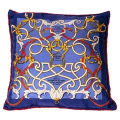 Hermes Silk and Velvet Backed Pillow