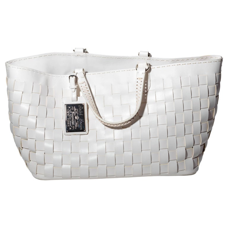 Ralph Lauren White Leather Tote with Detachable Shoulder Strap