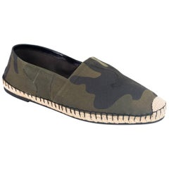 Valentino Men's Green Camouflage Canvas Espadrilles Slip-On Shoes