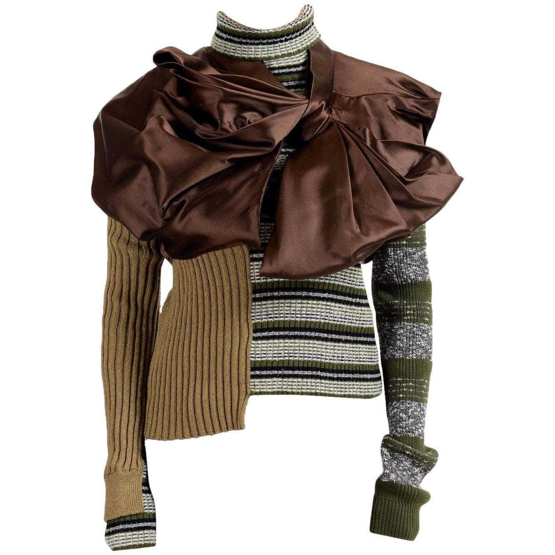 Masion Margiela Hi Fashion Mixed Media Assymetric Bow Sweater - Runway New M