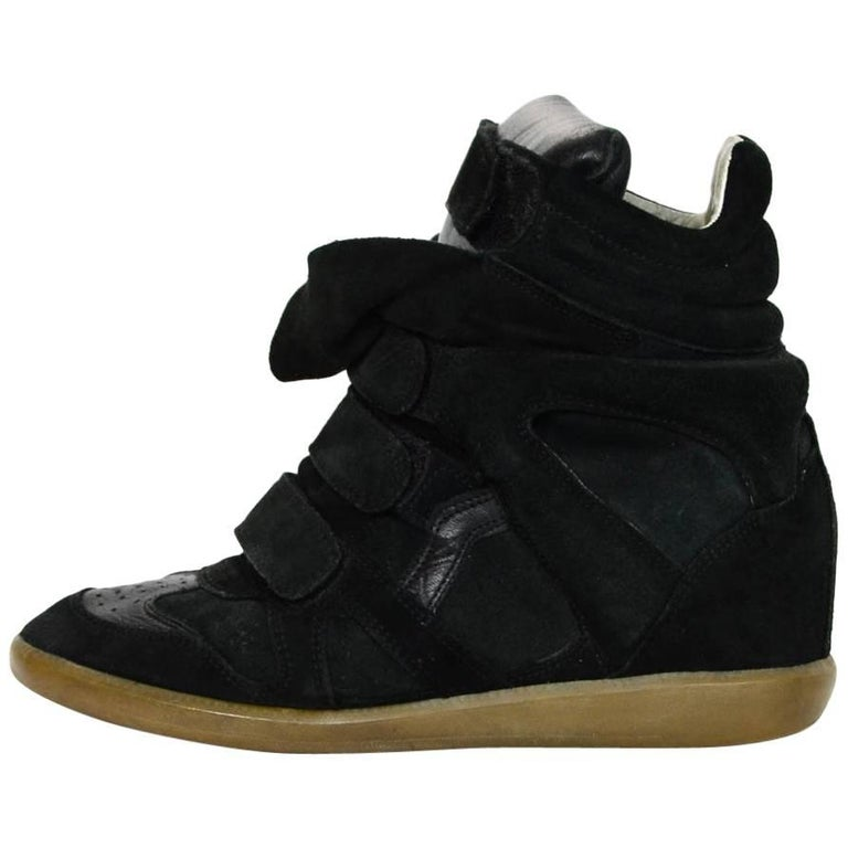 Isabel Black Leather & Suede Beckett Sneakers Sz 39