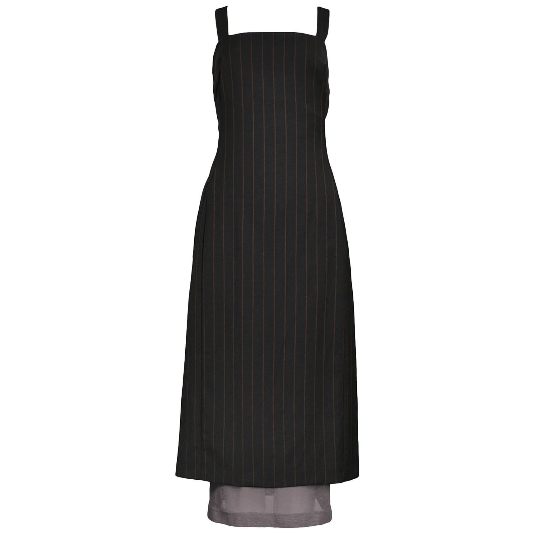 Vintage Dolce & Gabbana Double Layer Pinstripe Dress