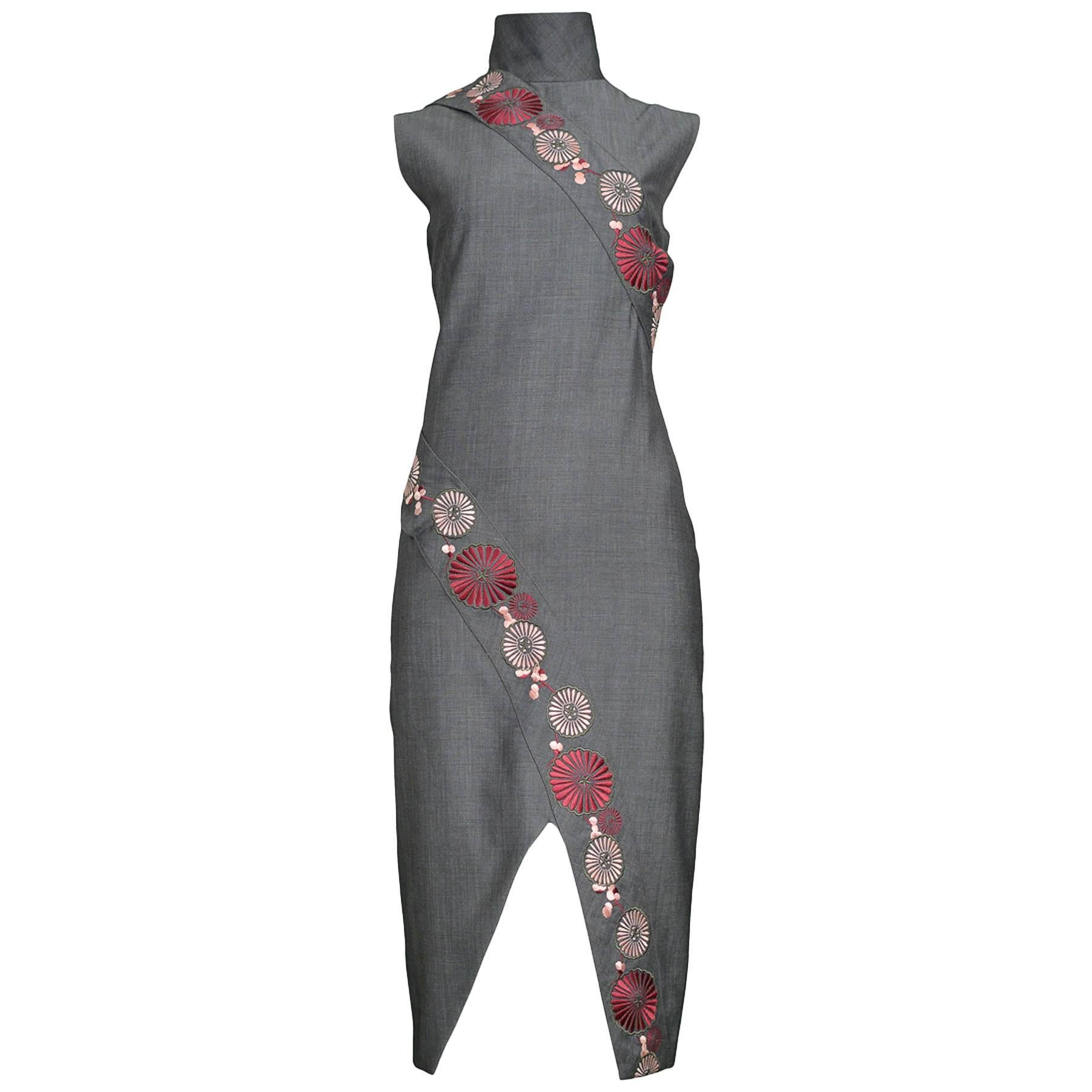 Vintage Runway Alexander McQueen 2001 Floral Cheongsam Inspired Dress