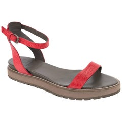Brunello Cucinelli Red Grained Leather Platform Sandal