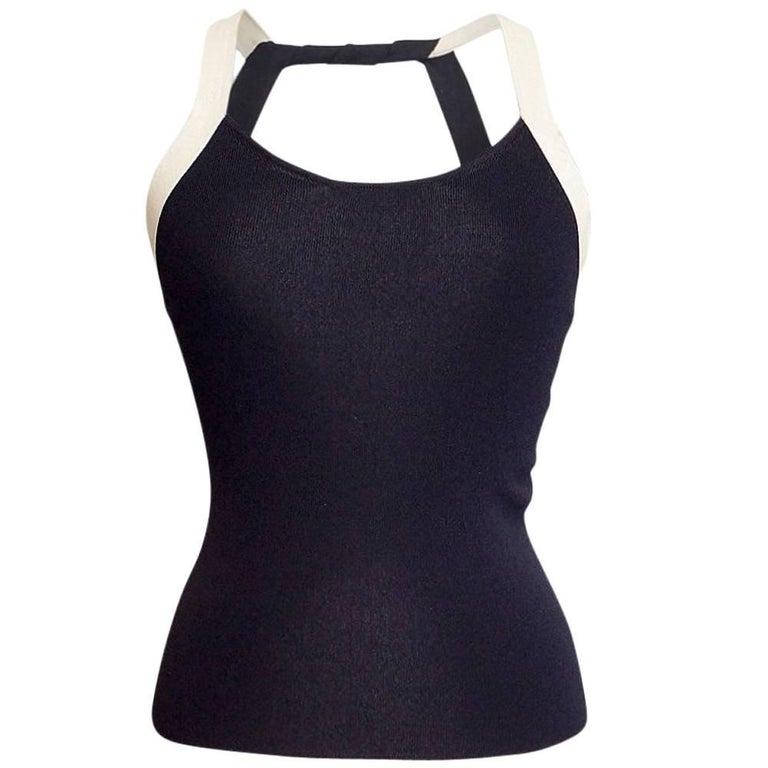 Giorgio Armani Top Deep Navy Open Rear Modified Halter NWT 42 / 6 For Sale