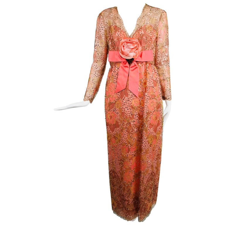 Sarmi Coral metallic woven painted tulle sequined evening dress 1960s For Sale