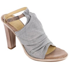 Brunello Cucinelli Grey Ruched Fabric Peep Toe Mule Heels