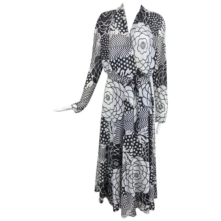 Gottex black and white jersey wrap dress 1980s For Sale