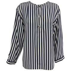 Valentino Navy blue and white stripe silk blouse