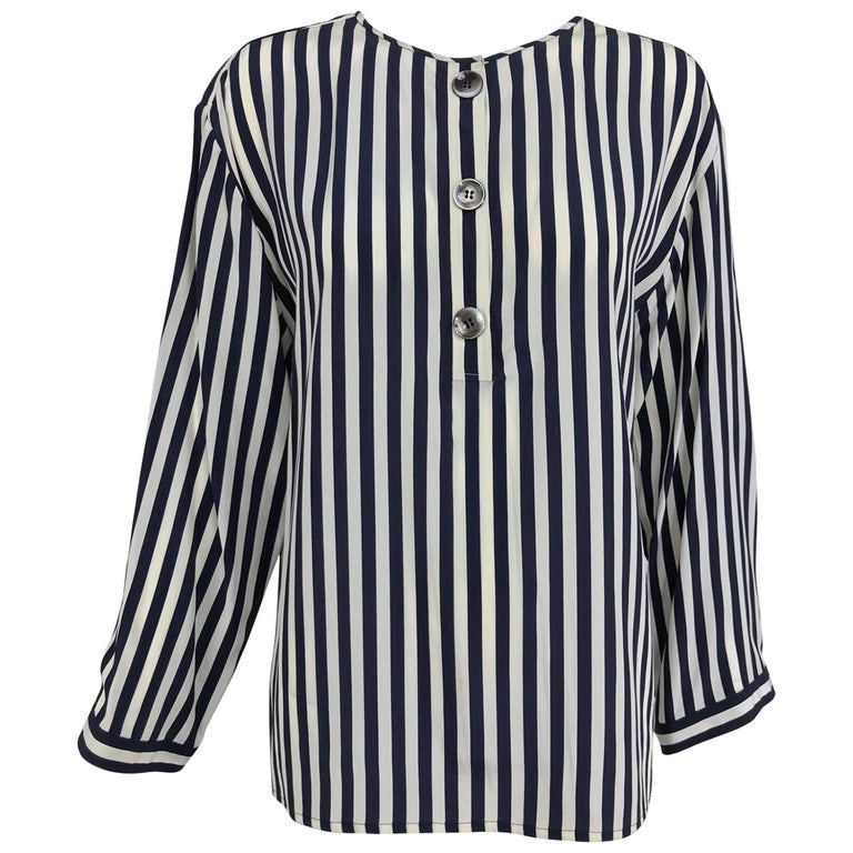 Valentino Navy blue and white stripe silk blouse For Sale