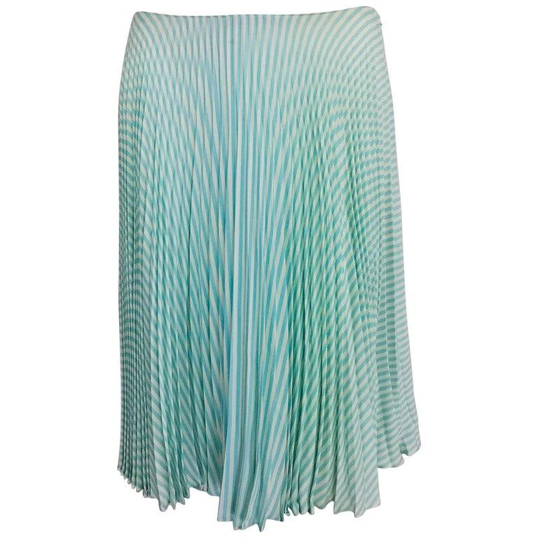 Oscar de la Renta aqua and white knife pleated silk crepe skirt For Sale
