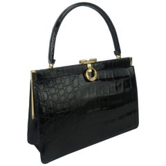 Classic 1950's Bellestone Black Alligator Handbag