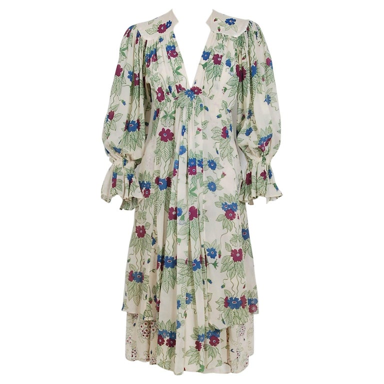 1973 Ossie Clark Couture Celia Birtwell Floral Print Tiered Silk Chiffon Dress