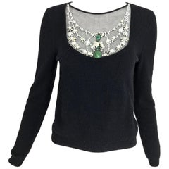 Oscar de la Renta jewel decorated neckline black sweater