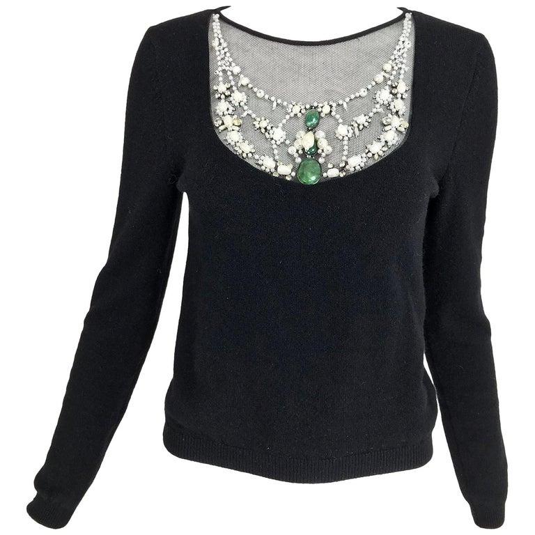 Oscar de la Renta jewel decorated neckline black sweater For Sale