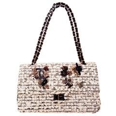 Chanel Garden Charm 2.55 Double Flap White & Black Tweed Shoulder Bag
