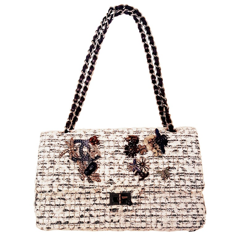 Chanel Garden Charm 2.55 Double Flap White & Black Tweed Shoulder Bag