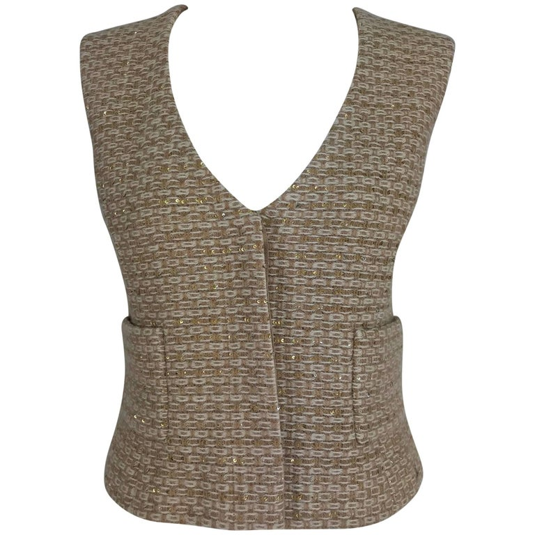 Chanel glittery tan and cream tweed and sequin vest 2000A