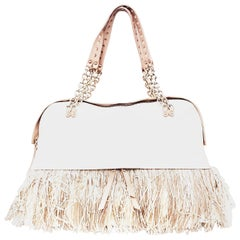 Christian Louboutin Ivory Leather with Multi Material Fringe & 2 Shoulder Straps