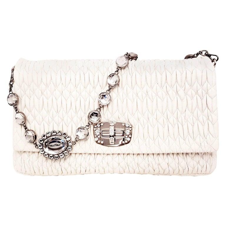 Miu Miu Matelasse Ivory Calfskin Leather w  Crystal Turn Lock   Shoulder  Strap For Sale 4428e432e492c