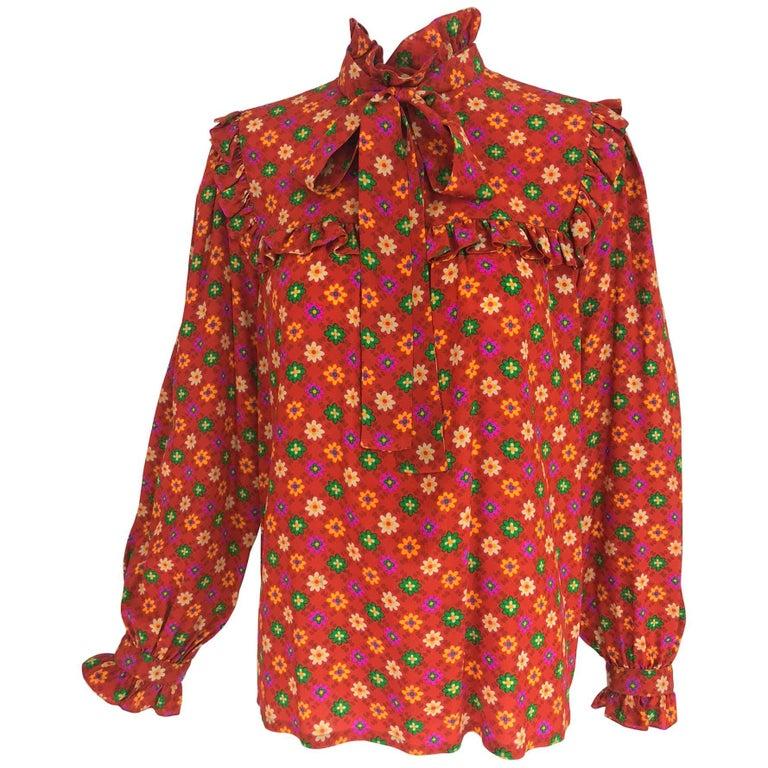 Yves Saint Laurent Floral print bow tie silk blouse, 1970s