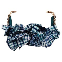 Christian Louboutin Artemis Papillote Turquoise Plaid Handle & Beige/Blue Bag