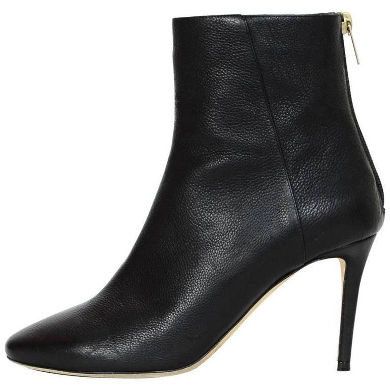Jimmy Choo Black Leather Duke 85 Ankle Boots Sz 38