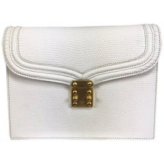 Lana of London white envelope lizard clutch gold hardware