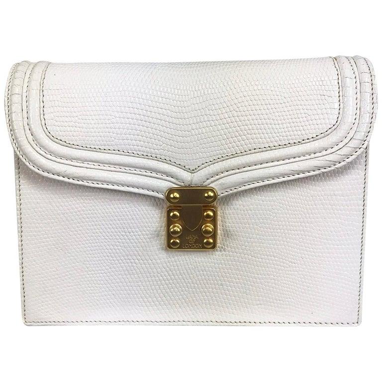 Lana of London white envelope lizard clutch gold hardware For Sale