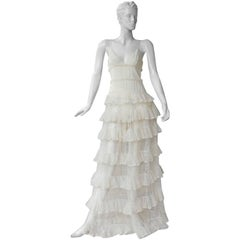 Alexander McQueen Runway Romantic Lace Confection Tiered Dress Gown