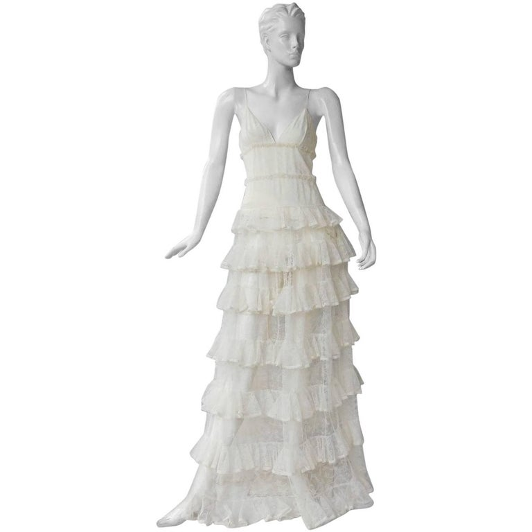 7a388f4ad4 Alexander McQueen Runway Dreamy Lace Tiered Dress Gown New! For Sale at  1stdibs