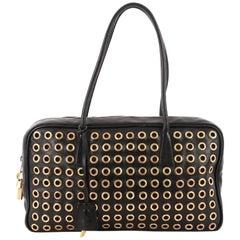 Prada Grommet Zip Top Handle Bag Leather Small
