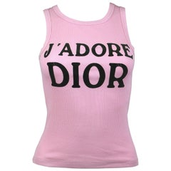 """Christian Dior """"J'adore"""" Dior Pink Ribbed Cotton Tank top, A/W 2001 , size 4 US"""