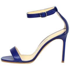 Manolo Blahnik Blue Leather Chaos 95mm Sandals Sz 35.5