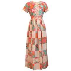 1960s Lilly Pulitzer Maxi Dress with Patchwork Print Skirt