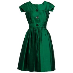 1950s Henri Bendel Emerald Green Silk Belted Full Skirt Cocktail Dress