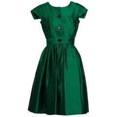 1950s Henri Bendel Emerald Green Silk Belted Full Skirt Cocktail Dress